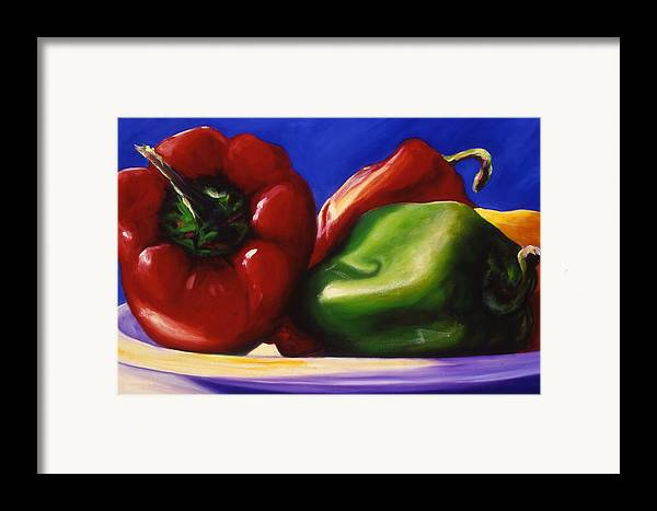 Still Life Framed Print featuring the painting Harvest Festival Peppers by Shannon Grissom
