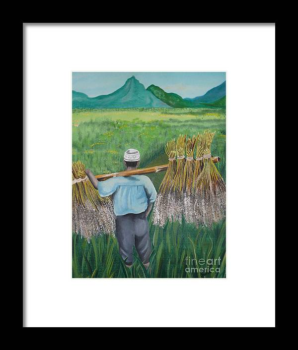 Landscape Framed Print featuring the painting Harvest by Kris Crollard