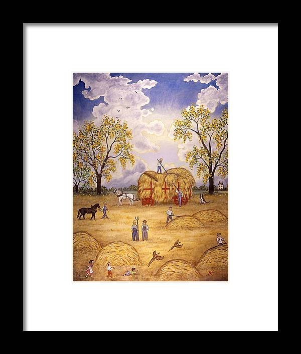 Harvest Landscape Framed Print featuring the painting Harvest by Linda Mears