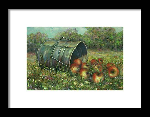 Luczay Framed Print featuring the painting Harvest With Red Apples by Luczay