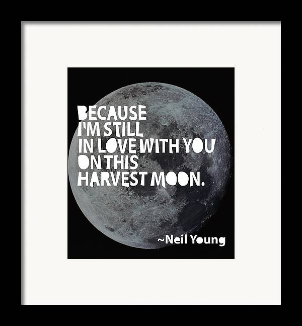 Neil Young Framed Print featuring the painting Harvest Moon by Cindy Greenbean