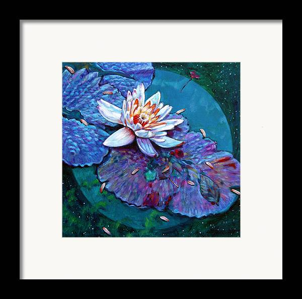 Water Lily Framed Print featuring the painting Harvest Moon by John Lautermilch