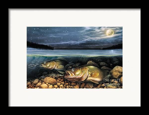 Walleye Framed Print featuring the painting Harvest Moon Walleye 1 by JQ Licensing