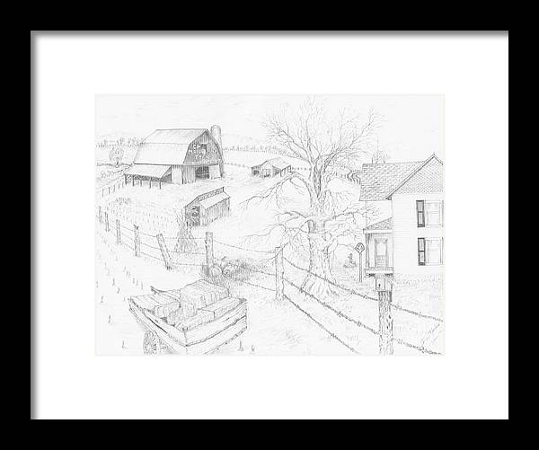 Realistic Drawing Framed Print featuring the drawing Harvest Time At Home by Dan Theisen