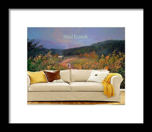 Murals Framed Print featuring the painting Harvest Walk Mural by Sally Seago