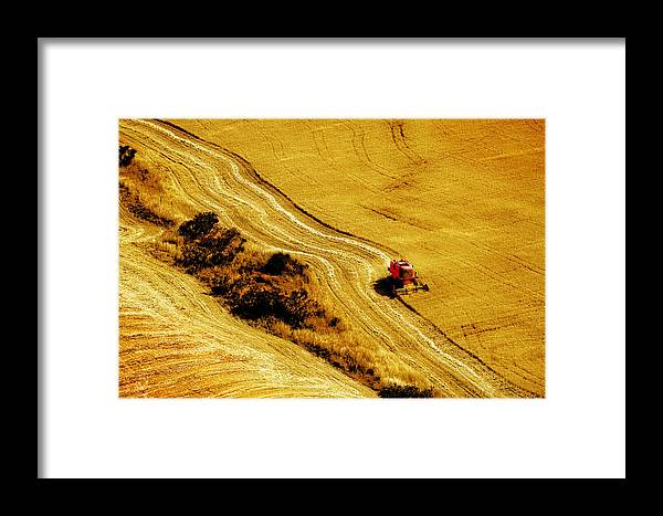 Combine Framed Print featuring the photograph Harvesting The Crop by Mal Bray