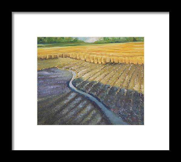 Landscape Framed Print featuring the painting Harvesting by Wendy Chua