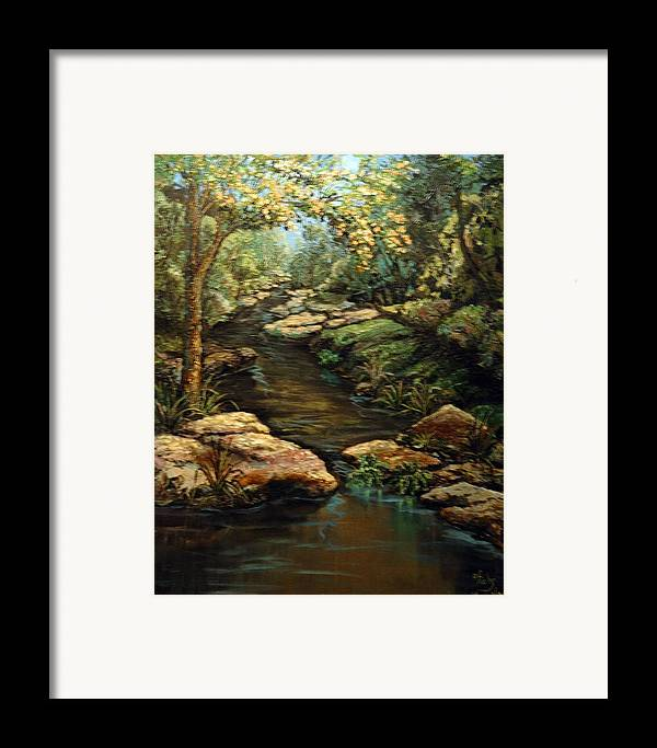 Landscape Framed Print featuring the painting Harvey's Creek by Cathy Fuchs-Holman