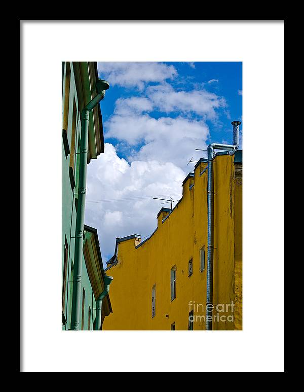 Yellow Framed Print featuring the photograph Has Opened Eyes And Has Looked In The City Sky... by Vadim Grabbe