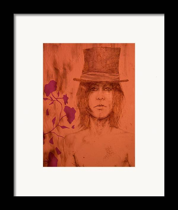 Hat Framed Print featuring the drawing Hat Boy by J Oriel