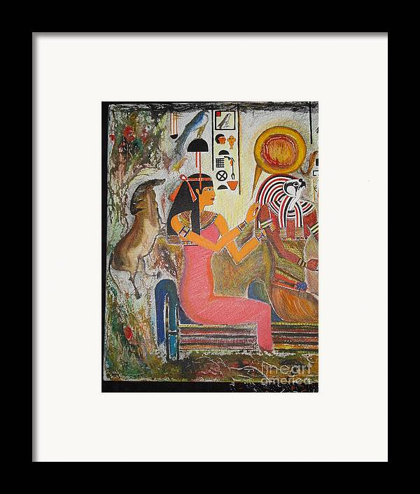 Hathor Framed Print featuring the mixed media Hathor And Horus by Prasenjit Dhar