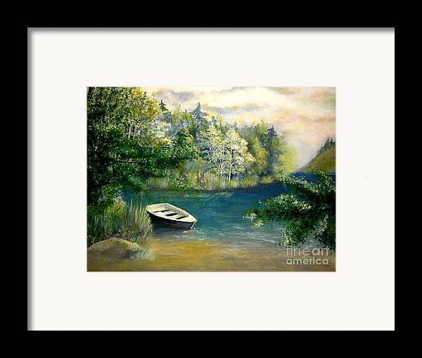 Landscape Framed Print featuring the painting Hatzec Lake by Vivian Mosley