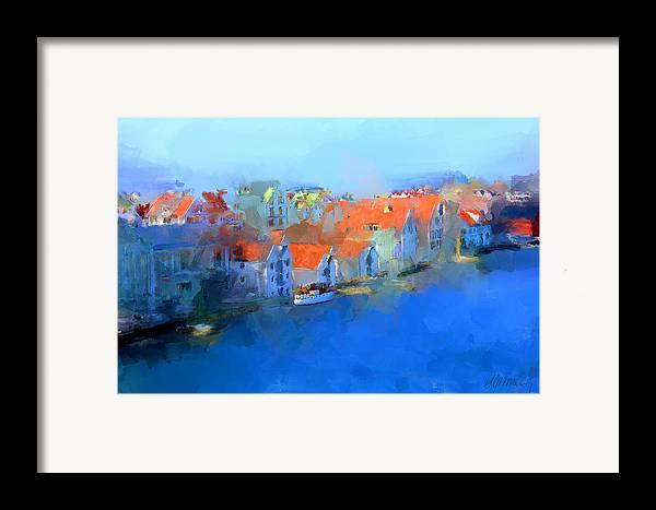Haugesund Framed Print featuring the painting Haugesund Harbour Norway by Michael Greenaway