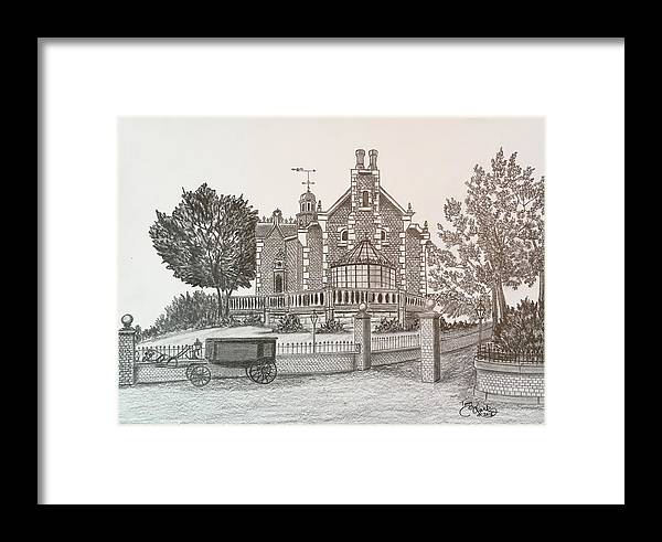House Framed Print featuring the drawing Haunted Mansion by Tony Clark