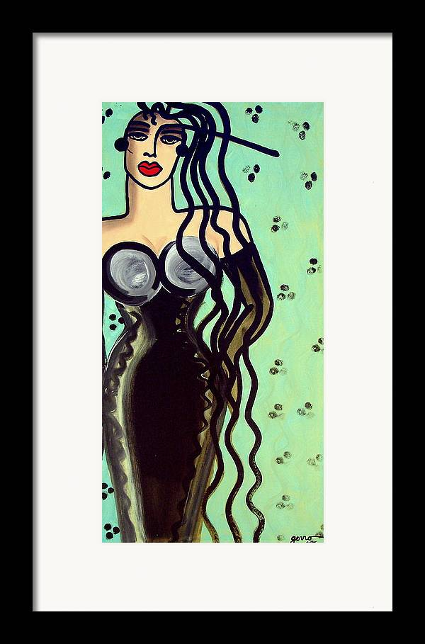 Model Framed Print featuring the painting Haute Couture Runway by Helen Gerro