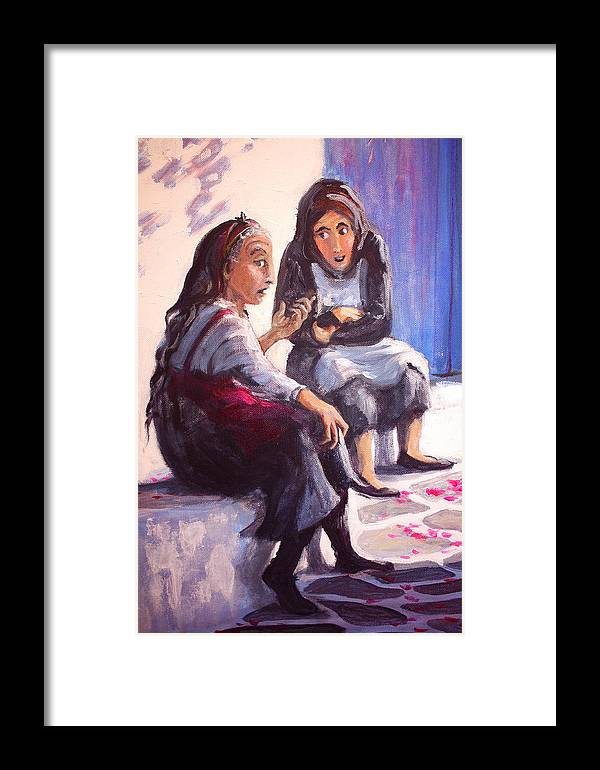 Greece Framed Print featuring the painting Have You Heard by Yvonne Ayoub