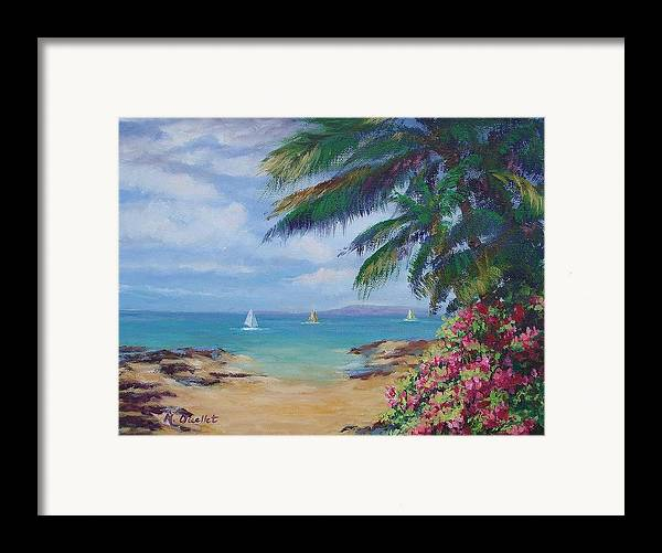 Landscape Framed Print featuring the painting Hawaii Calling by Maxine Ouellet