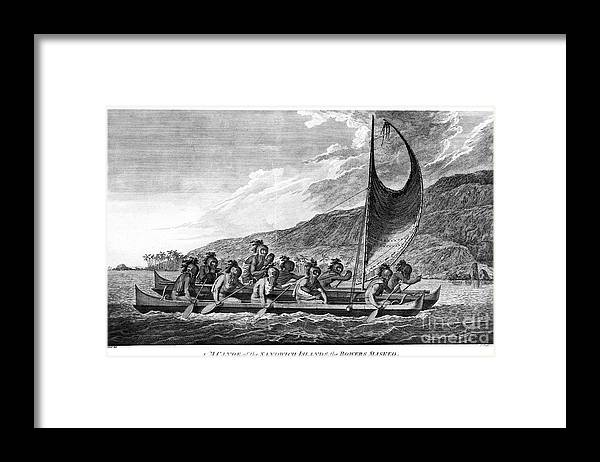 1779 Framed Print featuring the photograph Hawaii: Canoe, 1779 by Granger