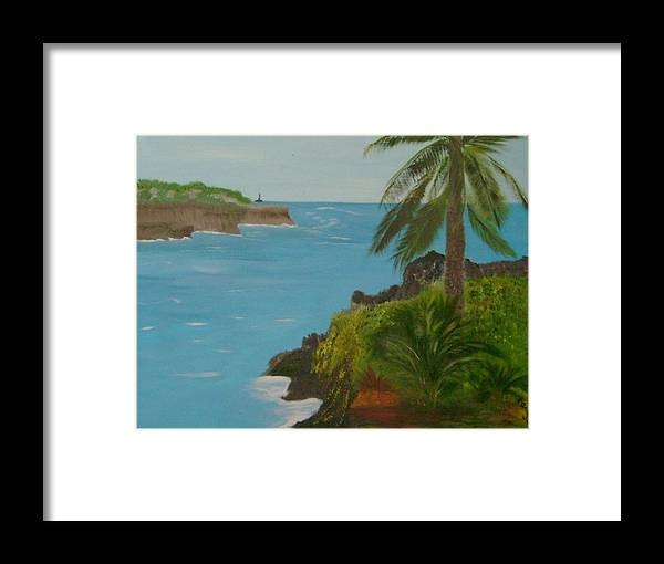 Hawaii Framed Print featuring the painting Hawaii Cliffs by Dottie Briggs