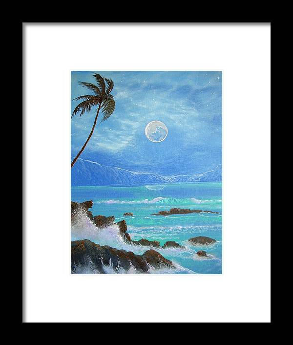 Hawaii Seascape Framed Print featuring the painting Hawaii Night Seascape by Leland Castro