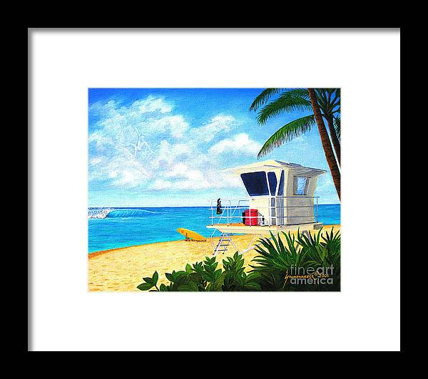 Hawaii Framed Print featuring the painting Hawaii North Shore Banzai Pipeline by Jerome Stumphauzer