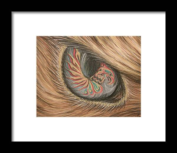 Hawk Framed Print featuring the pastel Hawk Eye Thunderbird by Alysa Sheats