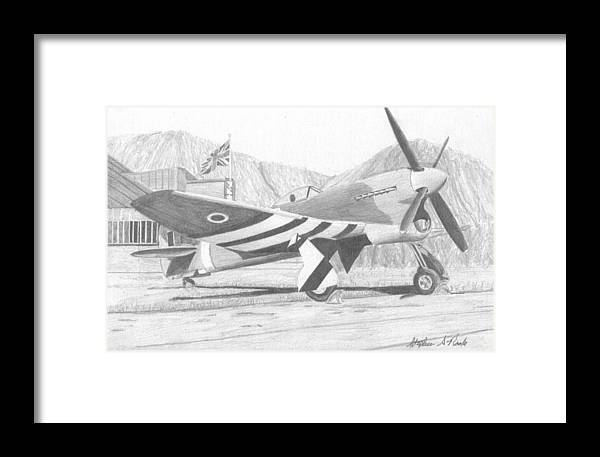 Hawker Typhoon Military Aircraft Art Print Framed Print by Stephen Rooks