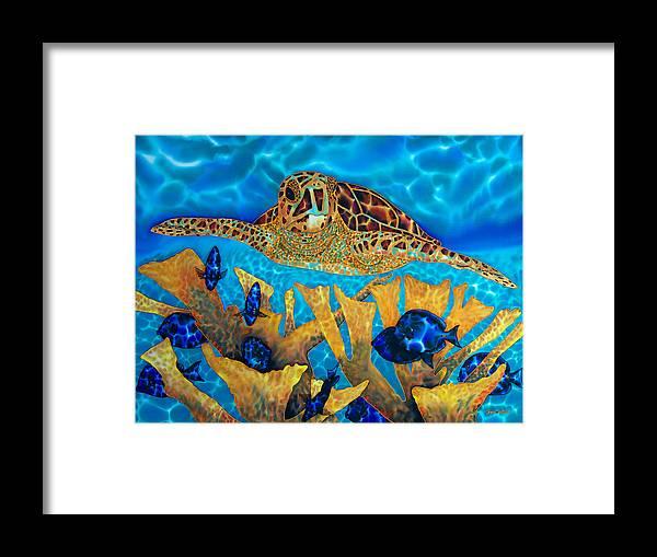Caribbean Sea Framed Print featuring the painting Hawksbill Sea Turtle by Daniel Jean-Baptiste