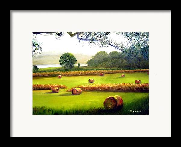 Landscape Framed Print featuring the painting Hay Bales by Julie Lamons