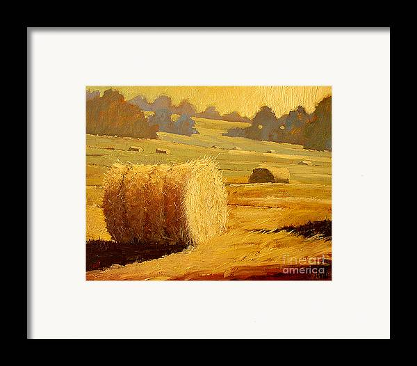 Hay Framed Print featuring the painting Hay Bales Of Bordeaux by Robert Lewis