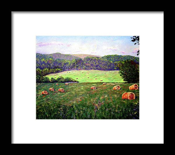 Original Oil On Canvas Framed Print featuring the painting Hay Field by Stan Hamilton
