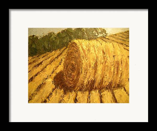 Art Sale Framed Print featuring the painting Haybale Hill by Jaylynn Johnson