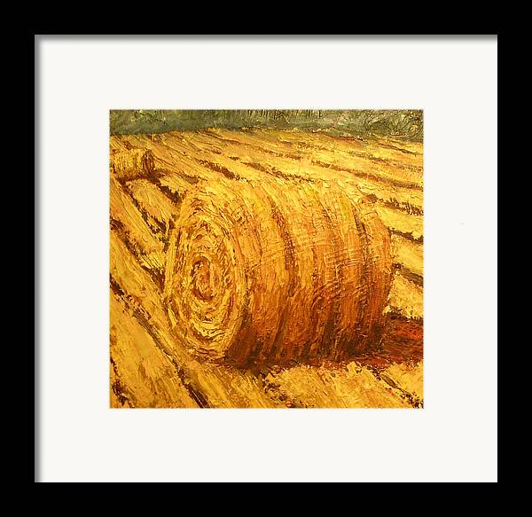 Art Sale Framed Print featuring the painting Haybale II by Jaylynn Johnson