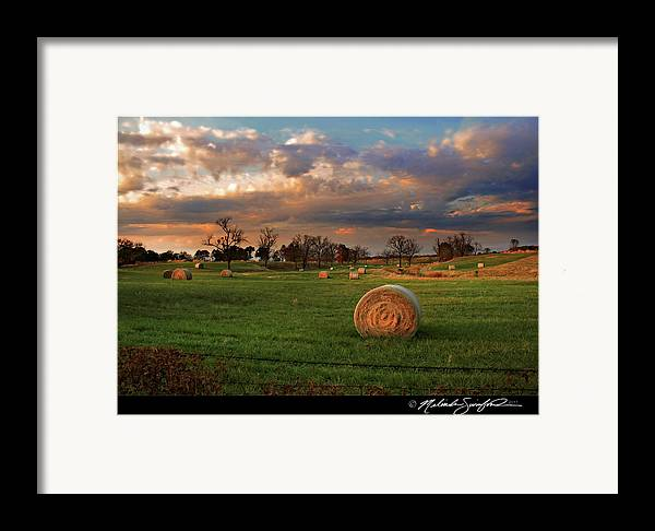 Landscape Framed Print featuring the photograph Haybales At Dusk by Melinda Swinford