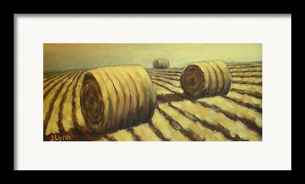 Art Sale Framed Print featuring the painting Haybales by Jaylynn Johnson