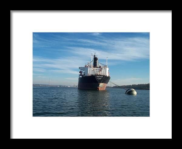 Ship Framed Print featuring the photograph Haydar At Anchor by Alan Espasandin