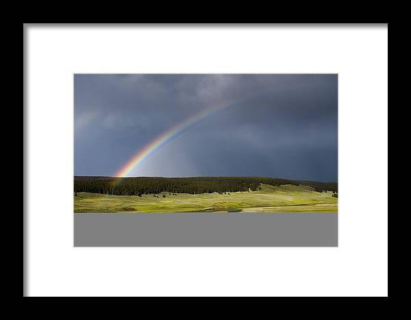 Rainbow Framed Print featuring the photograph Hayden Valley Rainbow by Chad Davis