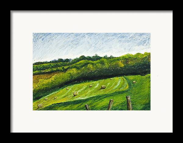 Landscape Framed Print featuring the painting Hayfield by Robert Sako