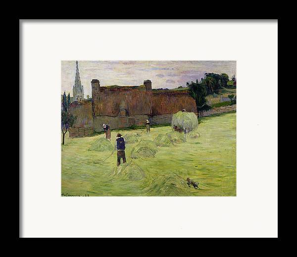 Haymaking In Brittany Framed Print featuring the painting Haymaking In Brittany by Paul Gauguin