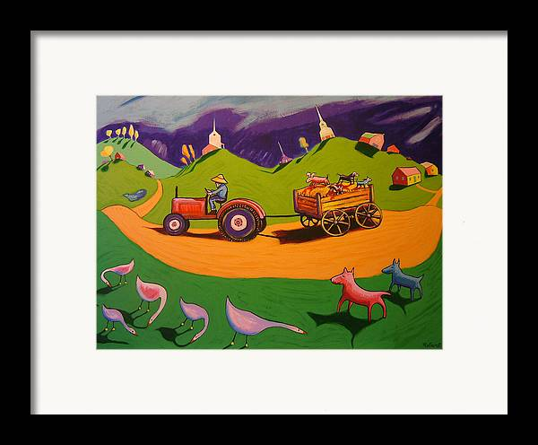 Farm Landscape With Dogs Framed Print featuring the painting Hayride by Robert Tarr