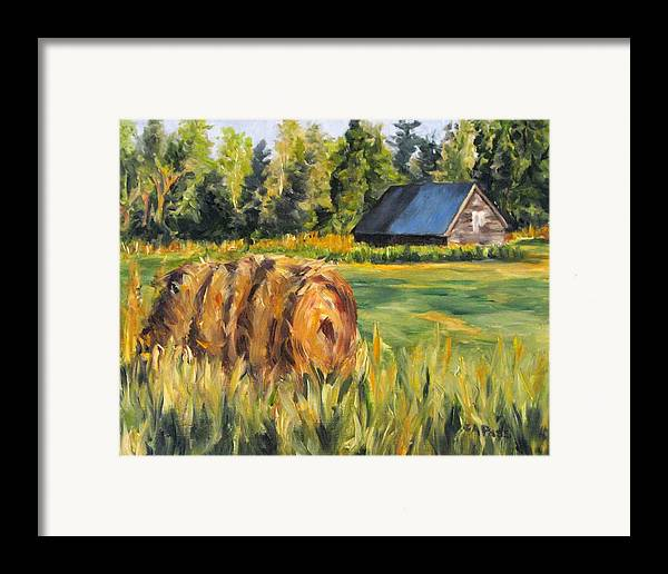 Landscape Framed Print featuring the painting Hayroll And Barn by Cheryl Pass