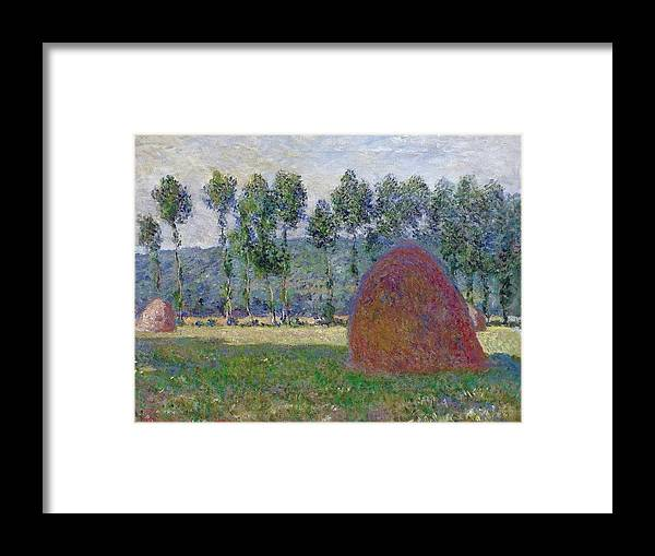 Agriculture Framed Print featuring the painting Haystack At Giverny, 1885 by Claude Monet