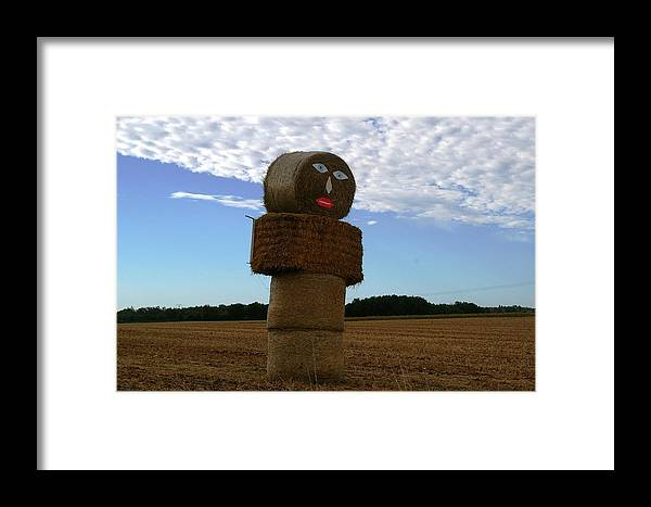 Farmland Framed Print featuring the photograph Haystack Man by Veron Miller