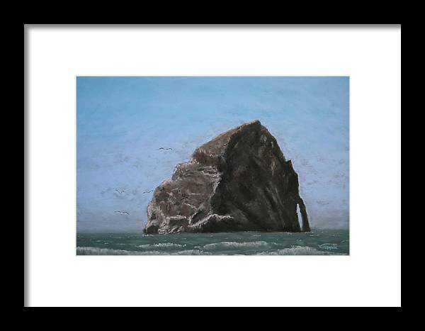 Seascape Framed Print featuring the painting Haystack Rock by Carl Capps