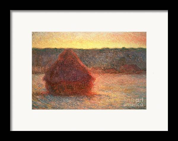 Haystacks At Sunset Framed Print featuring the painting Haystacks At Sunset by Claude Monet