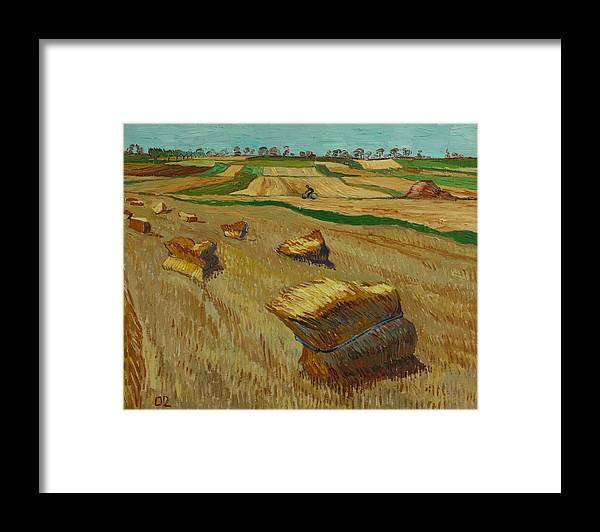 Landscape Framed Print featuring the painting Haystacks in Moravia by Vitali Komarov