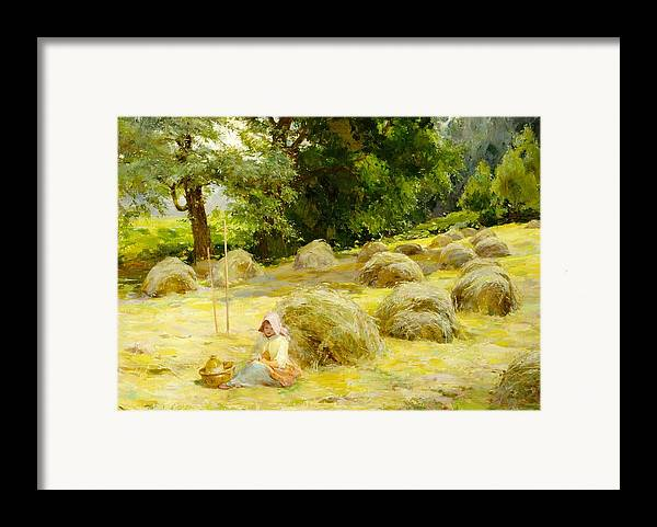 Haytime Framed Print featuring the painting Haytime by Rosa Appleton