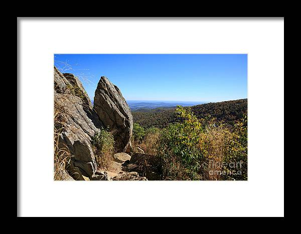 Hazel Mountain Overlook Framed Print featuring the photograph Hazel Mountain Overlook On Skyline Drive In Shenandoah National Park by Louise Heusinkveld