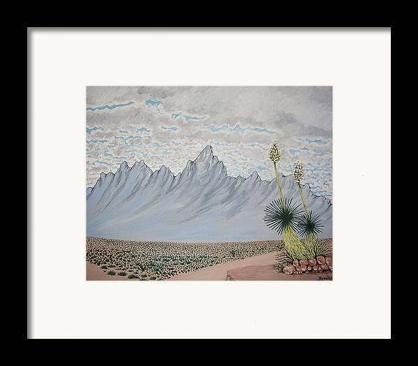 Desertscape Framed Print featuring the painting Hazy Desert Day by Marco Morales