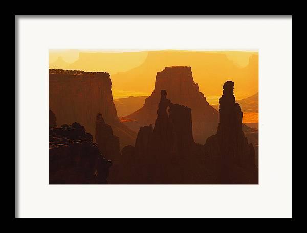 Desert Framed Print featuring the photograph Hazy Sunrise Over Canyonlands National Park Utah by Utah Images